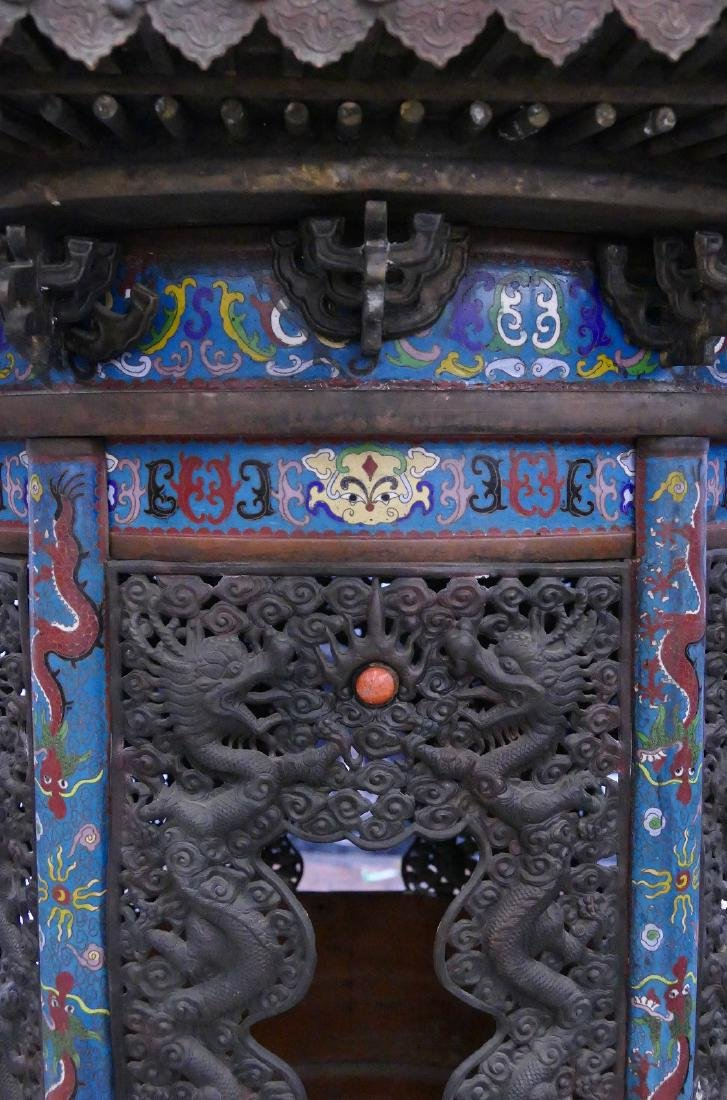 Pair of Monumental Chinese Cloisonne Pagoda Censers - 4