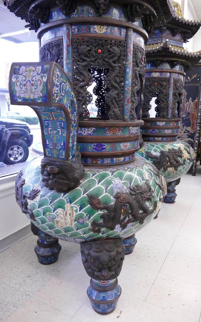 Pair of Monumental Chinese Cloisonne Pagoda Censers - 6