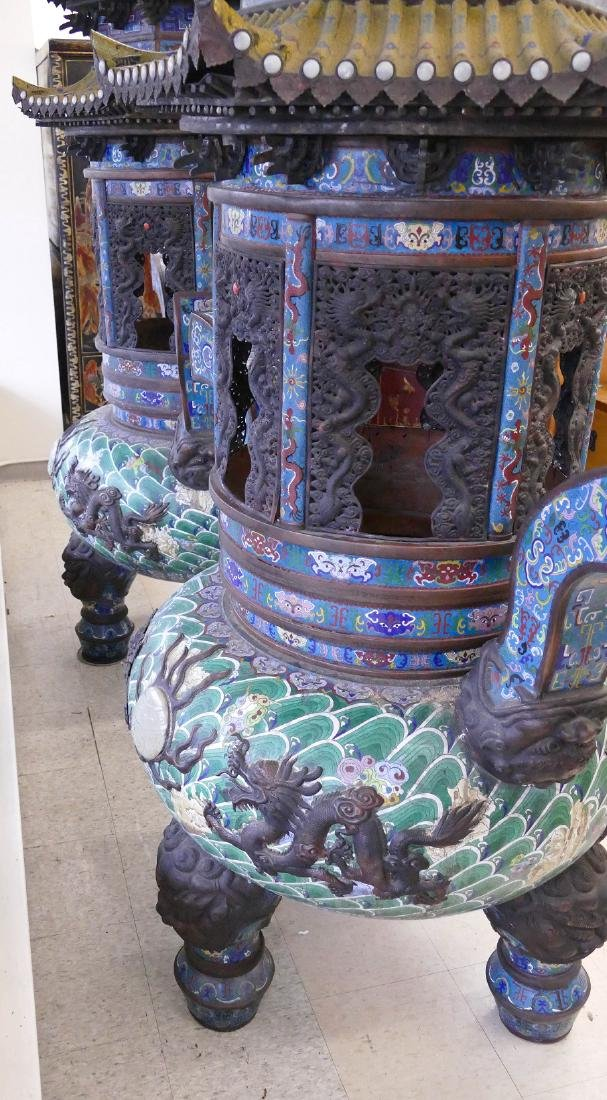 Pair of Monumental Chinese Cloisonne Pagoda Censers - 7
