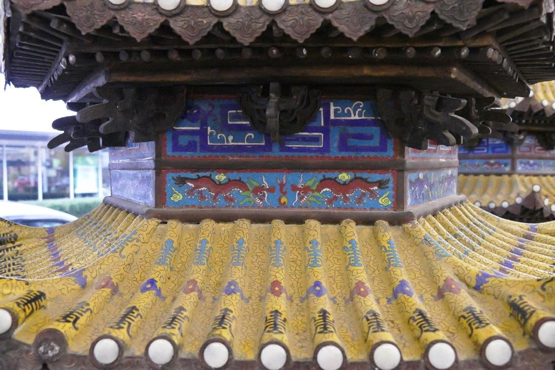 Pair of Monumental Chinese Cloisonne Pagoda Censers - 8