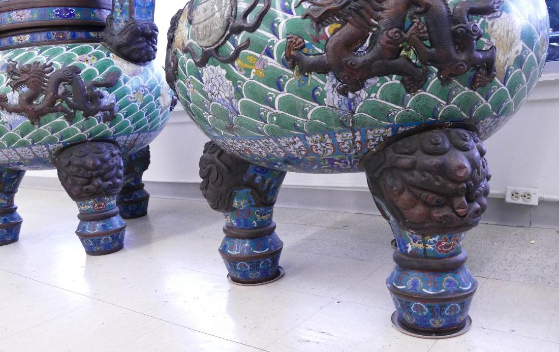 Pair of Monumental Chinese Cloisonne Pagoda Censers - 9