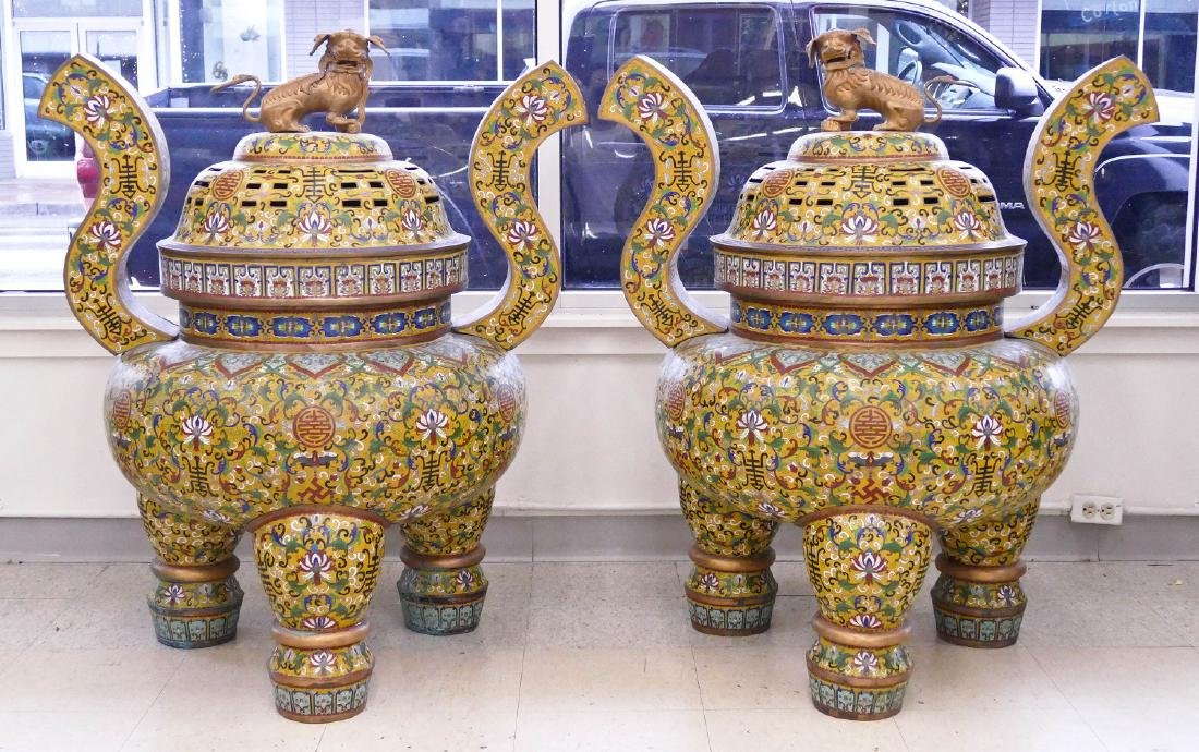 Pair of Chinese Cloisonne Palace Censers 43''x36''x27''