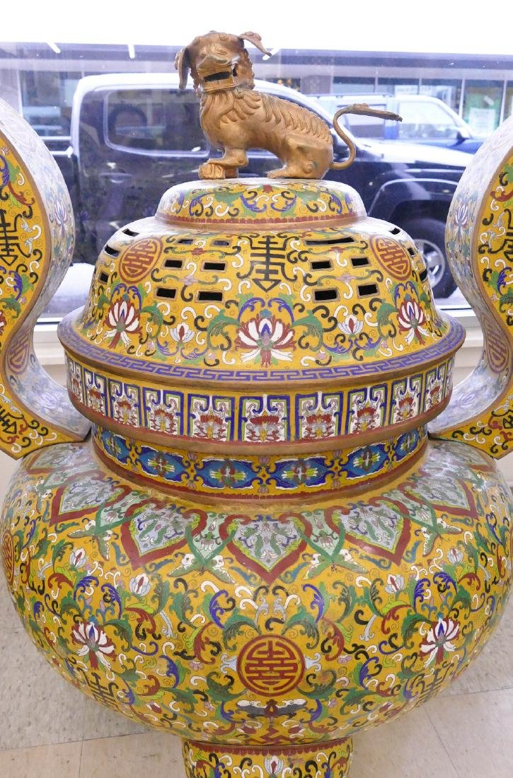 Pair of Chinese Cloisonne Palace Censers 43''x36''x27'' - 2