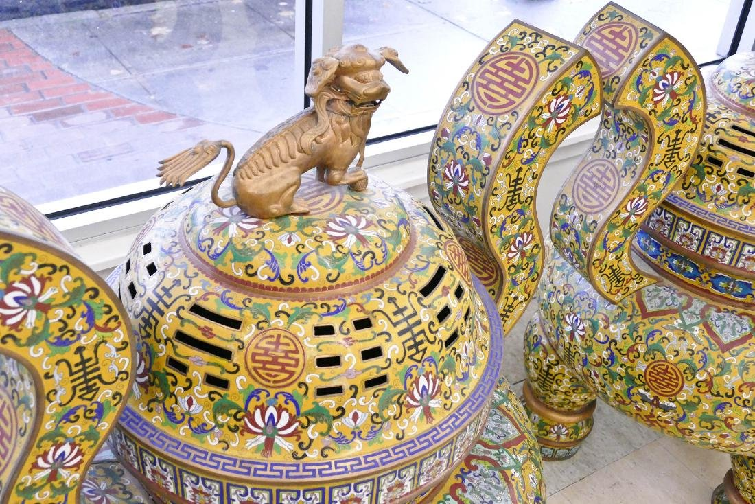 Pair of Chinese Cloisonne Palace Censers 43''x36''x27'' - 3