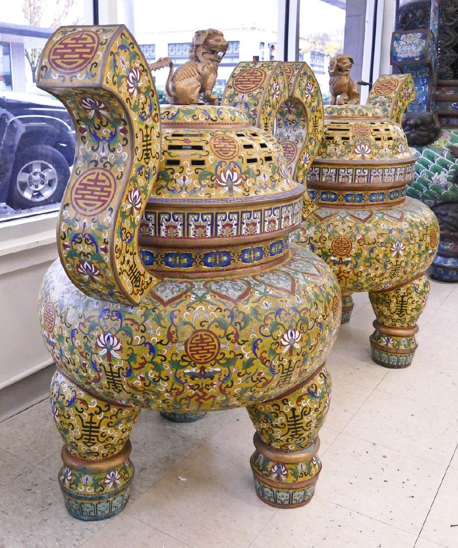 Pair of Chinese Cloisonne Palace Censers 43''x36''x27'' - 4