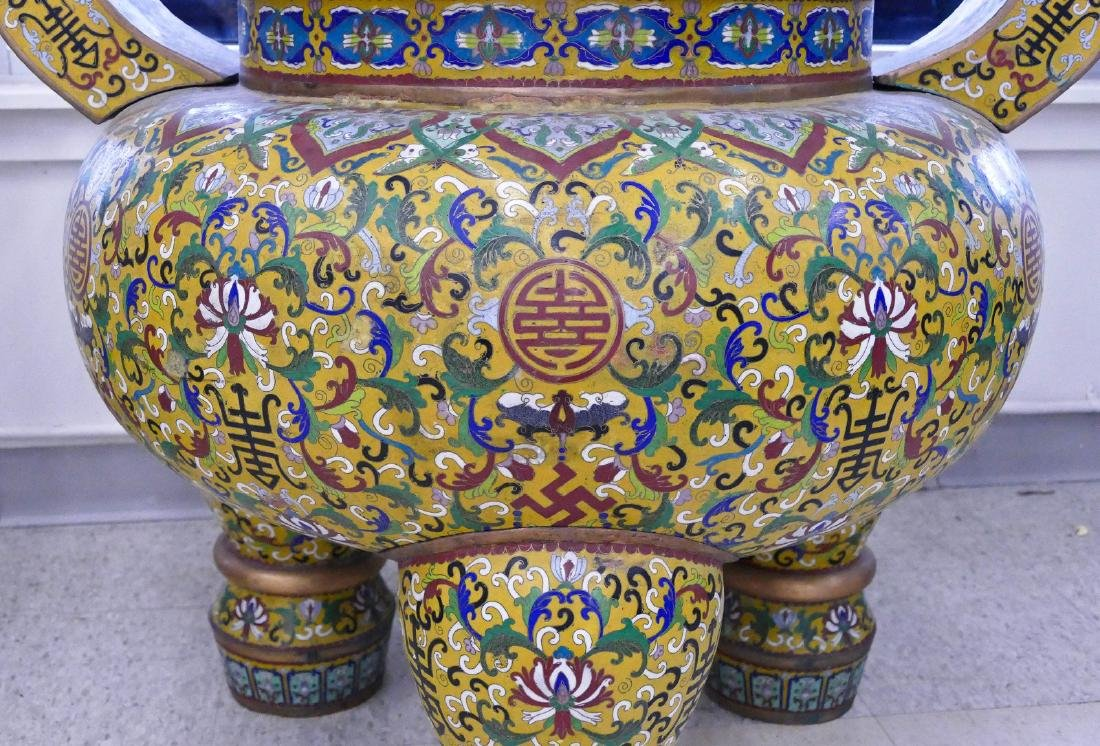 Pair of Chinese Cloisonne Palace Censers 43''x36''x27'' - 5