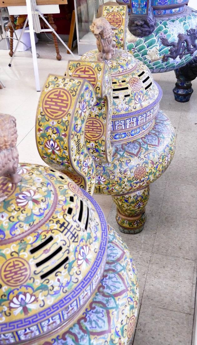 Pair of Chinese Cloisonne Palace Censers 43''x36''x27'' - 6