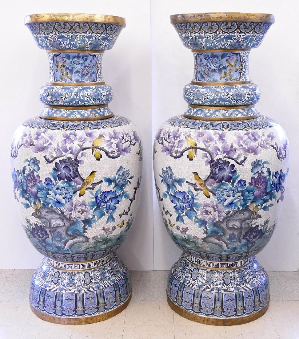 Pair of Monumental Chinese Cloisonne Palace Vases on - 9