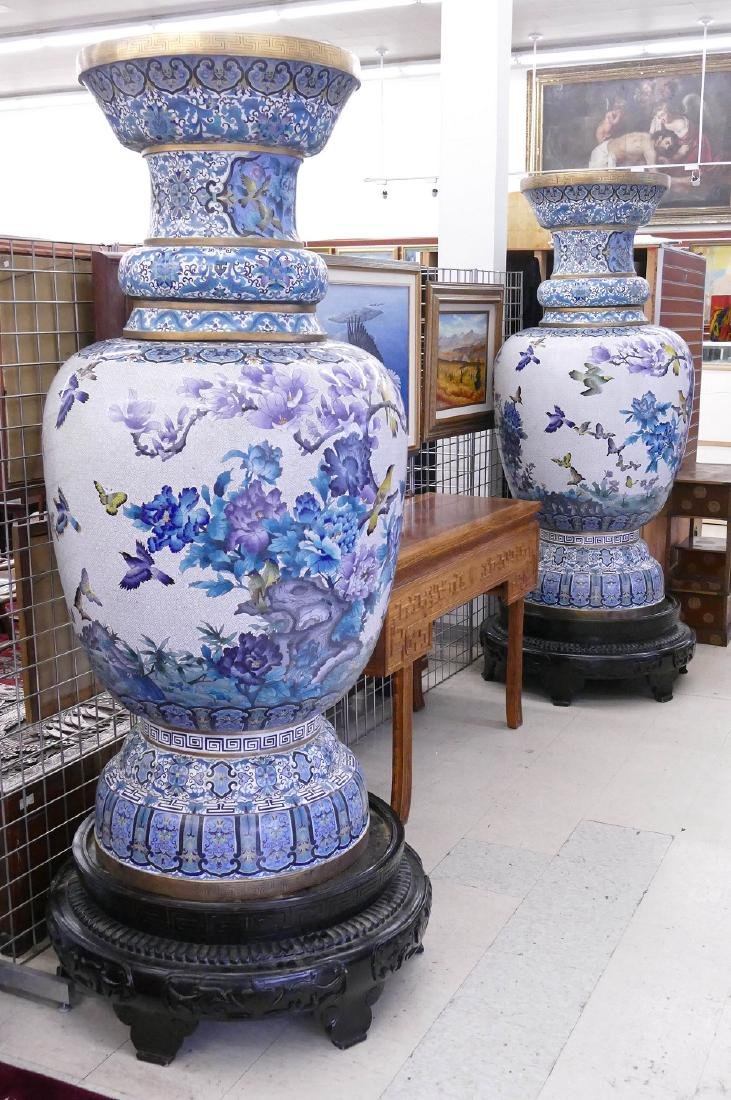 Pair of Monumental Chinese Cloisonne Palace Vases on