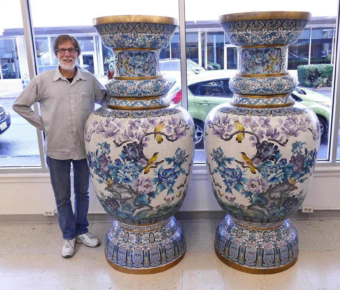 Pair of Monumental Chinese Cloisonne Palace Vases on - 2