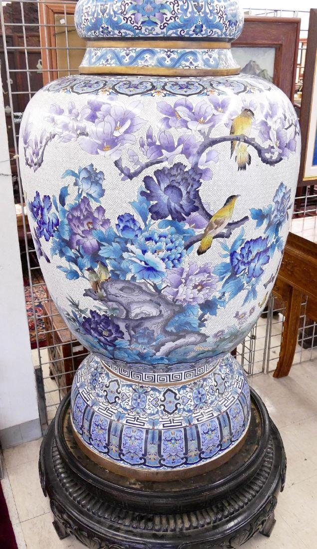 Pair of Monumental Chinese Cloisonne Palace Vases on - 3