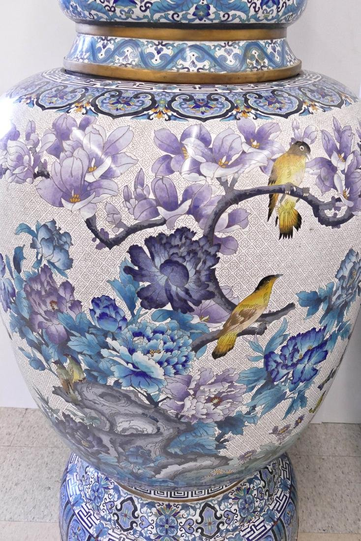 Pair of Monumental Chinese Cloisonne Palace Vases on - 4