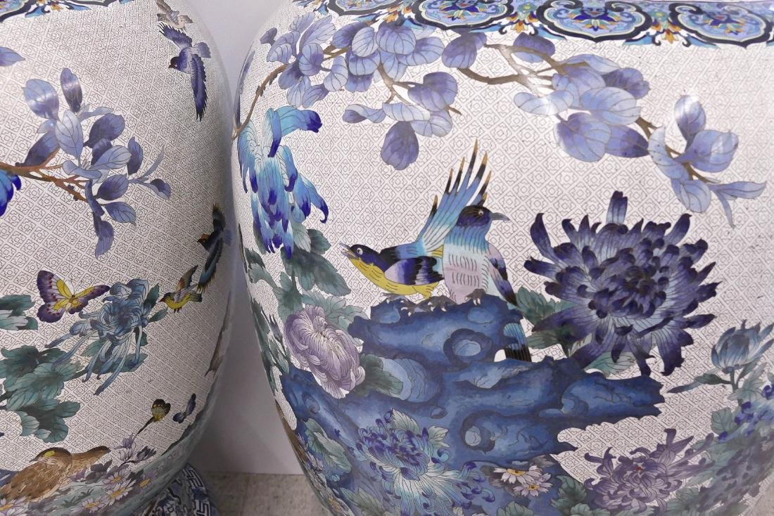 Pair of Monumental Chinese Cloisonne Palace Vases on - 6