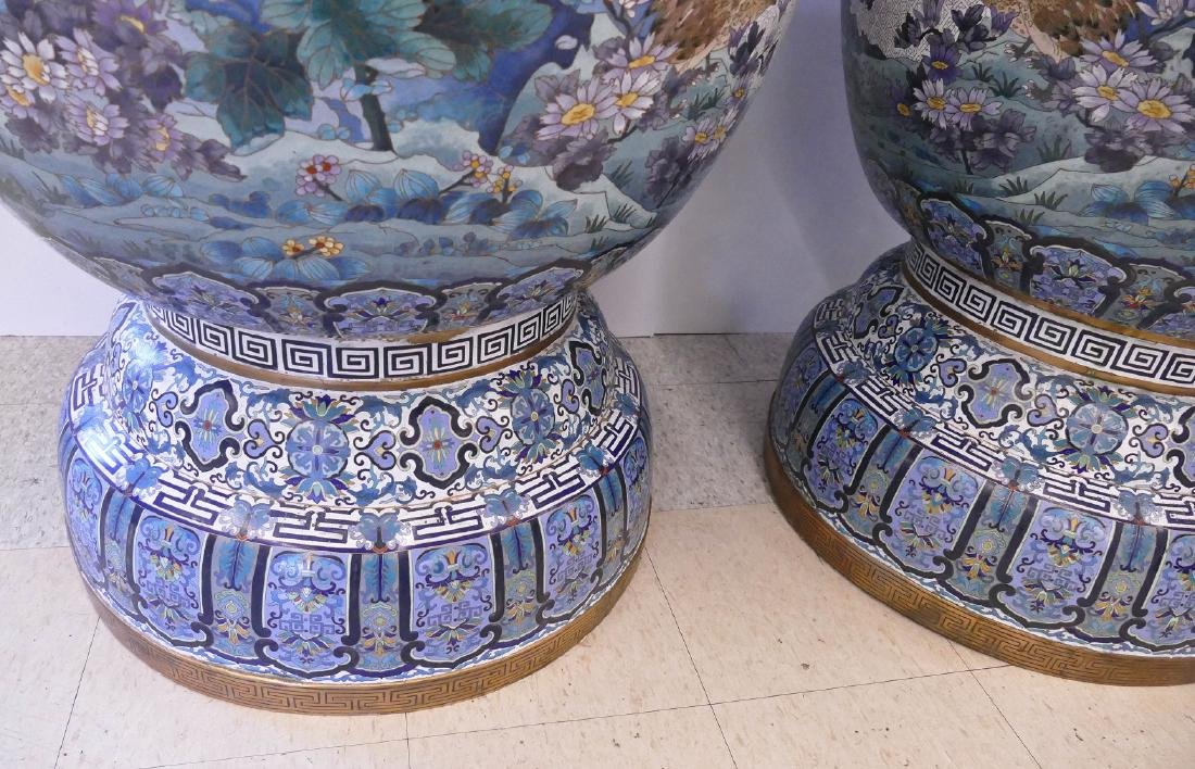 Pair of Monumental Chinese Cloisonne Palace Vases on - 7