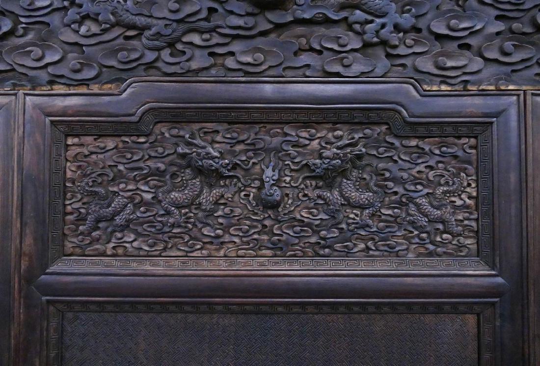 Impressive Chinese Jade Applique Dragon Screen - 10