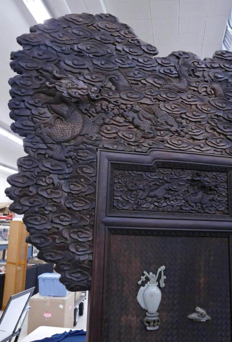 Impressive Chinese Jade Applique Dragon Screen - 4