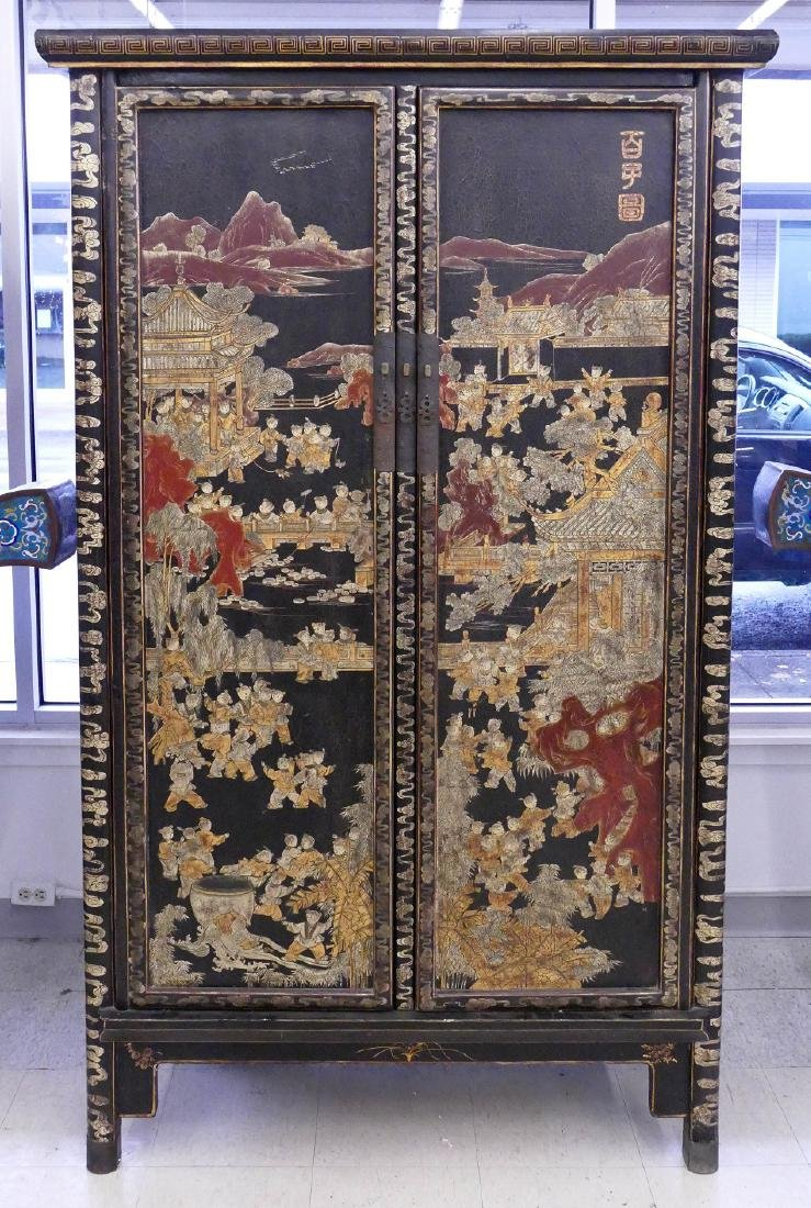 Chinese 100 Children Gilt Lacquered Cabinet