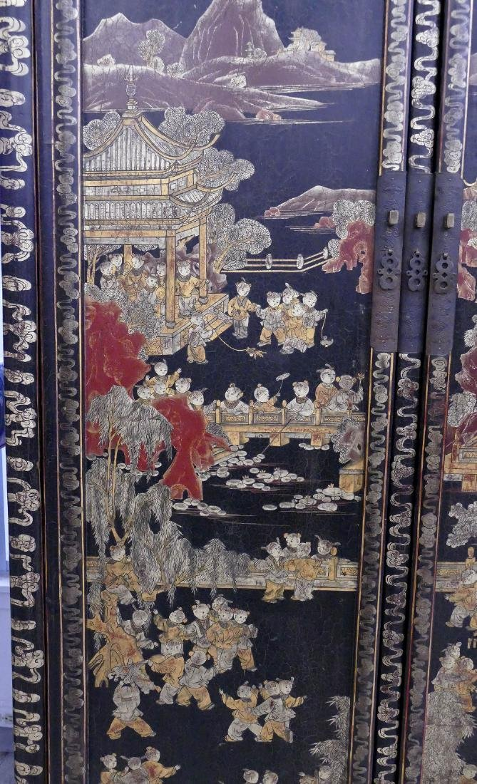 Chinese 100 Children Gilt Lacquered Cabinet - 3