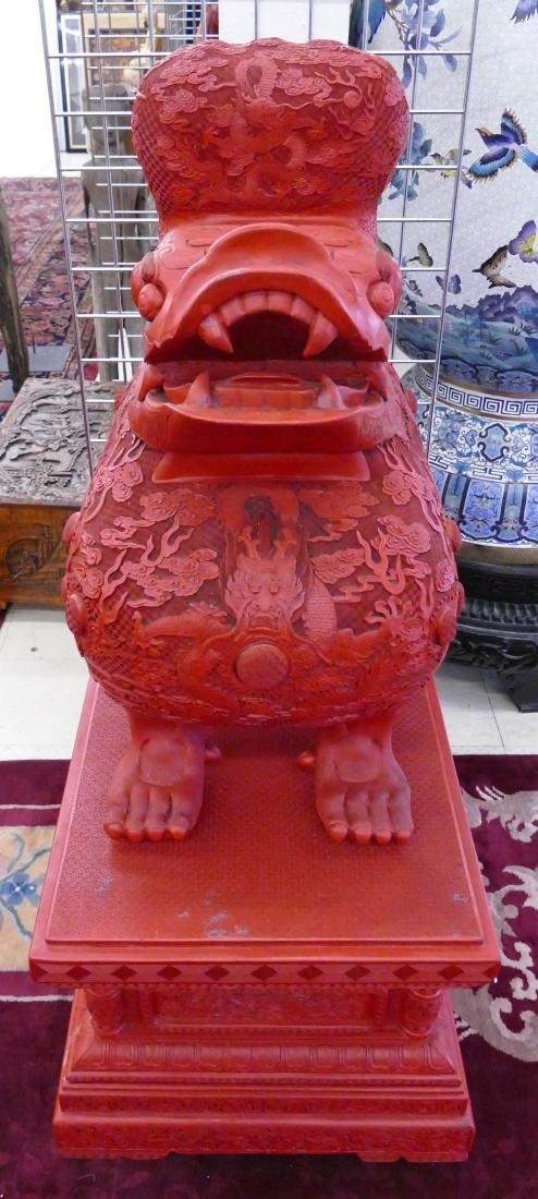 Pair of Chinese Monumental Cinnabar Mythological Beast - 2