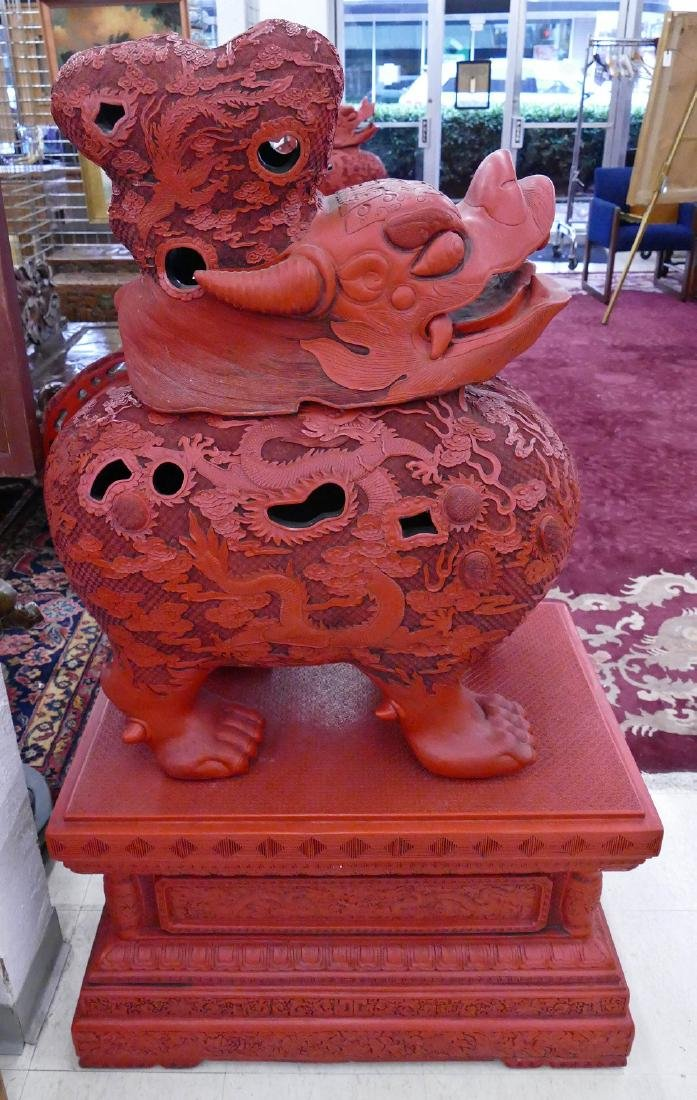 Pair of Chinese Monumental Cinnabar Mythological Beast - 8