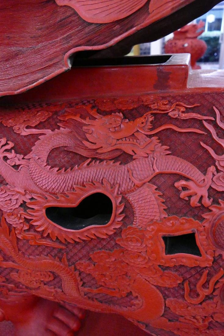 Pair of Chinese Monumental Cinnabar Mythological Beast - 9