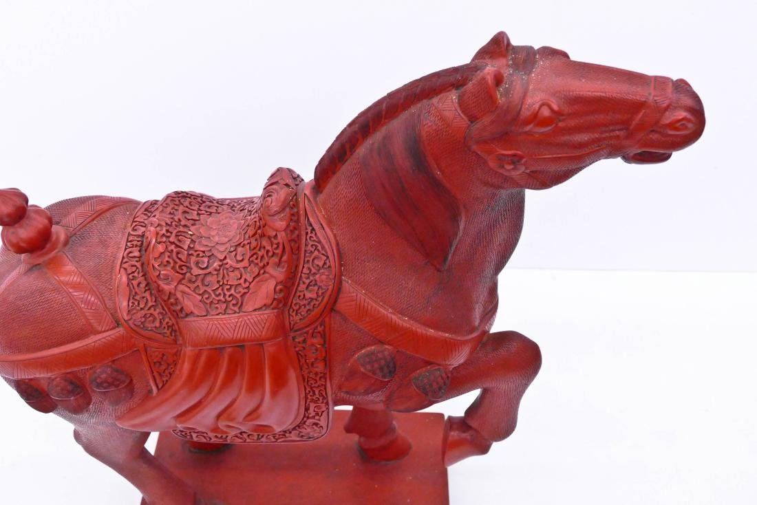 Chinese Cinnabar Horse Statue 28''x31''. Figural carved - 2