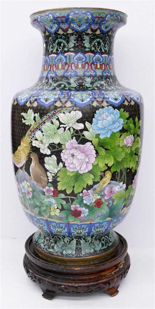 Chinese Cloisonne Palace Vase On Stand 45x20