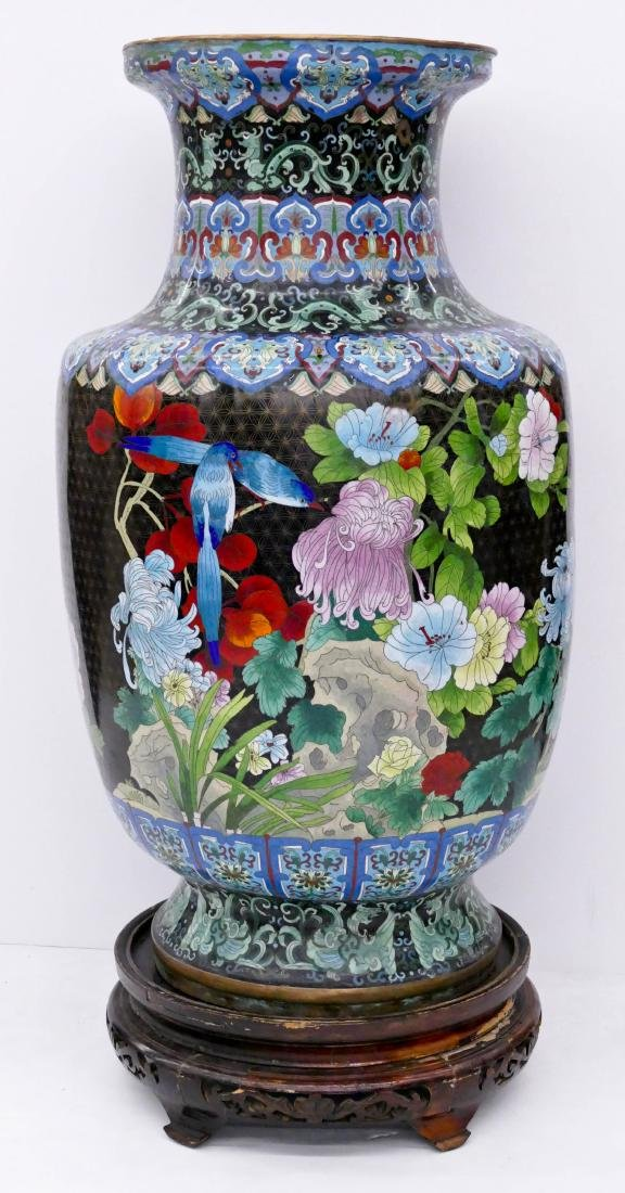 Chinese Cloisonne Palace Vase on Stand 45''x20''. - 2