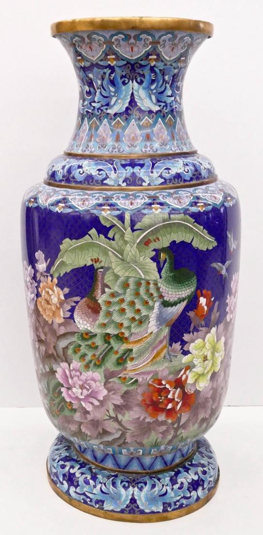 Chinese Blue Cloisonne Palace Vase 40''x18''.
