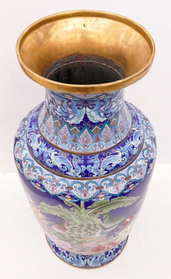 Chinese Blue Cloisonne Palace Vase 40''x18''. - 2