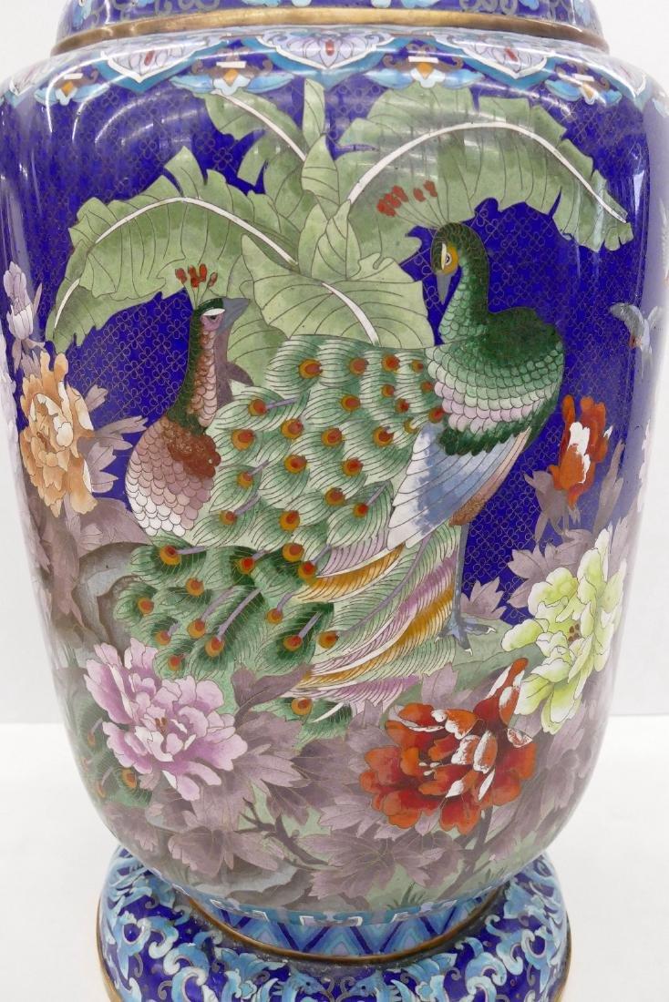 Chinese Blue Cloisonne Palace Vase 40''x18''. - 3