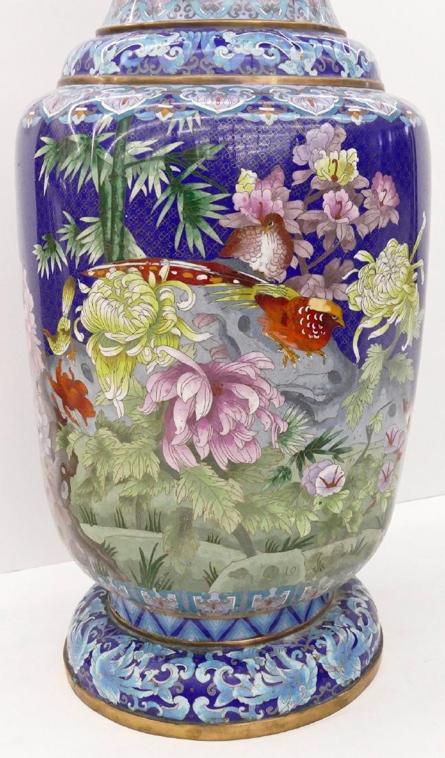 Chinese Blue Cloisonne Palace Vase 40''x18''. - 4