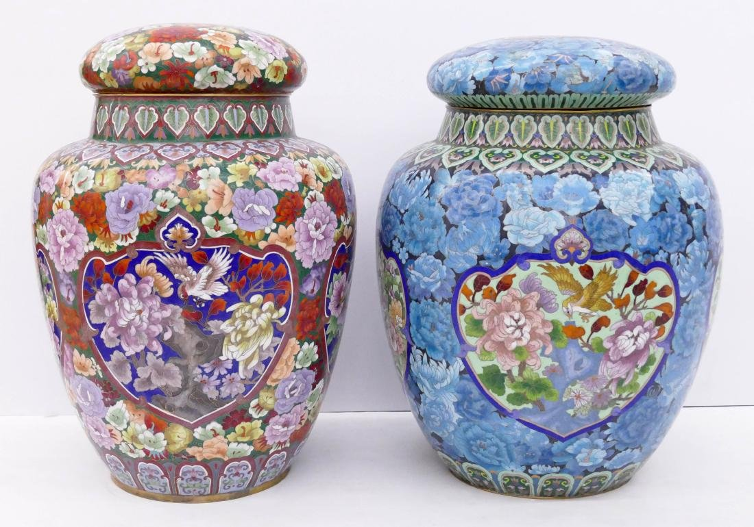 2pc Chinese Cloisonne Palace Jars 24''x18'' and