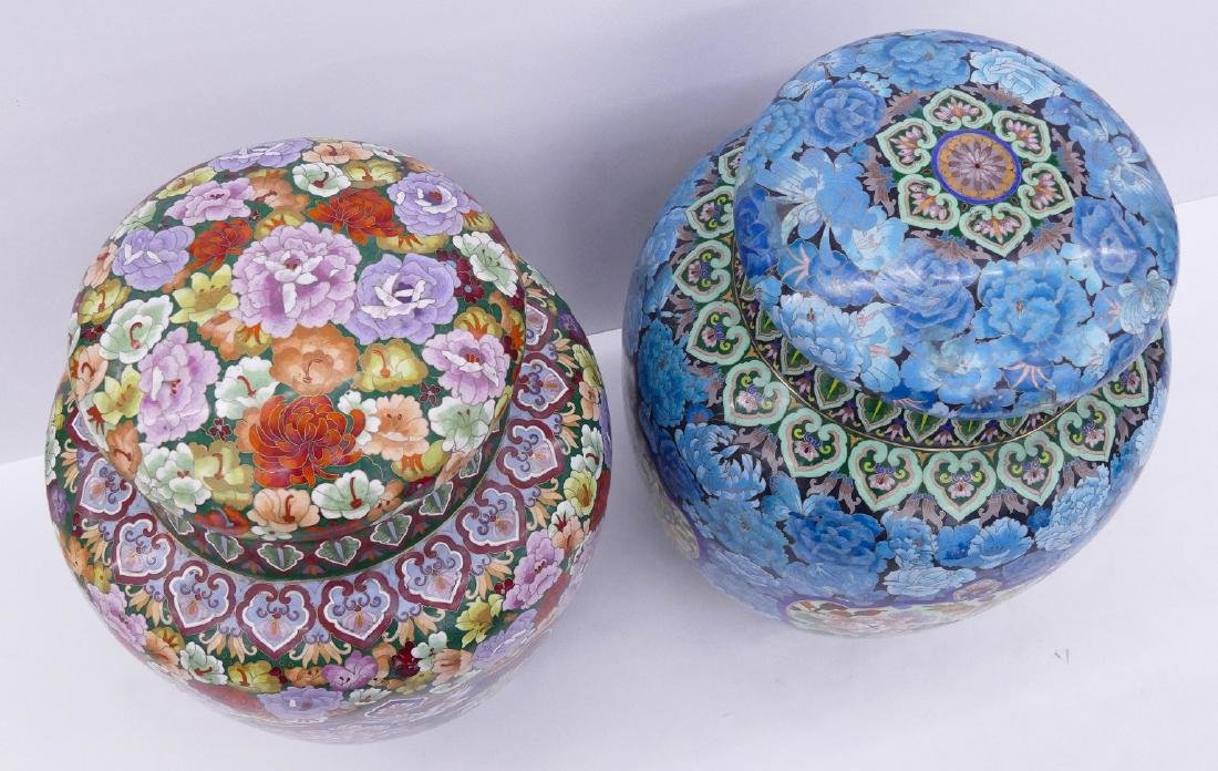 2pc Chinese Cloisonne Palace Jars 24''x18'' and - 2