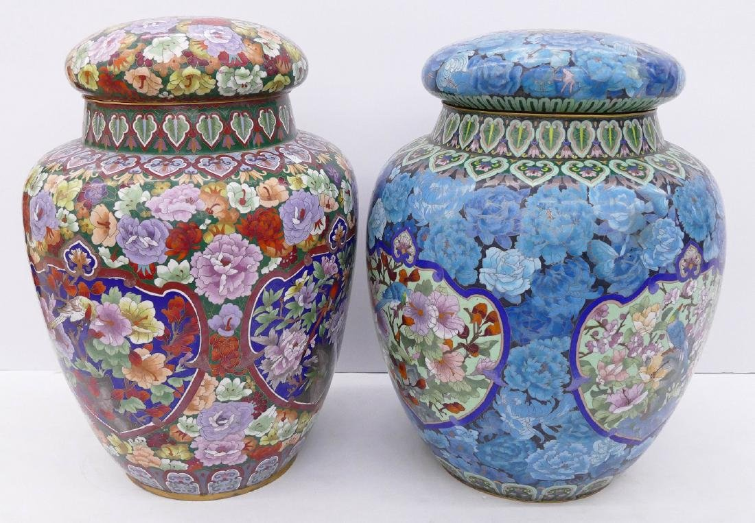 2pc Chinese Cloisonne Palace Jars 24''x18'' and - 3