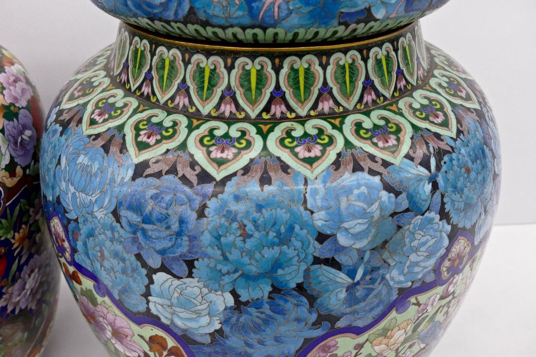 2pc Chinese Cloisonne Palace Jars 24''x18'' and - 4