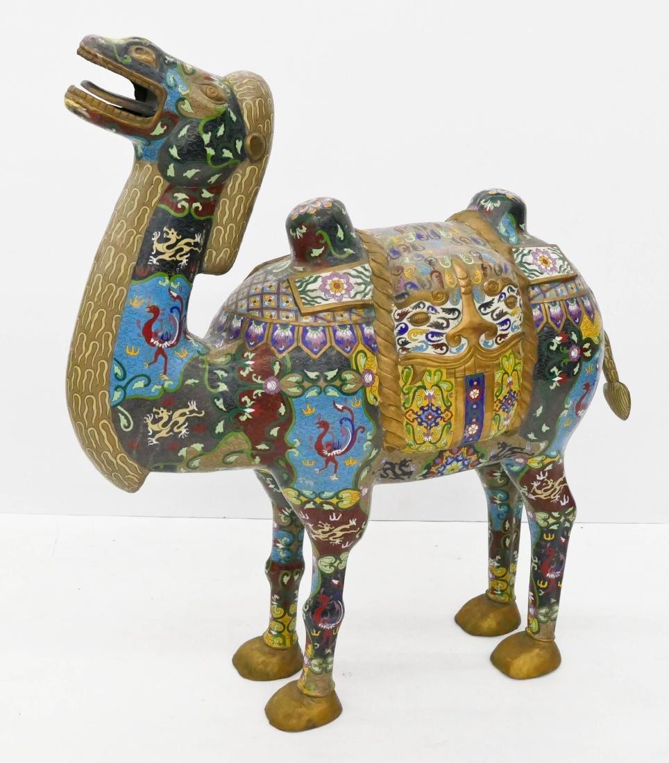 Impressive Chinese Cloisonne Camel Statue 39''x35''. A