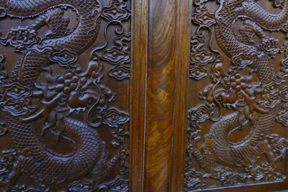 Chinese Rosewood Dragon Settee 40''x47''x23''. A carved - 4