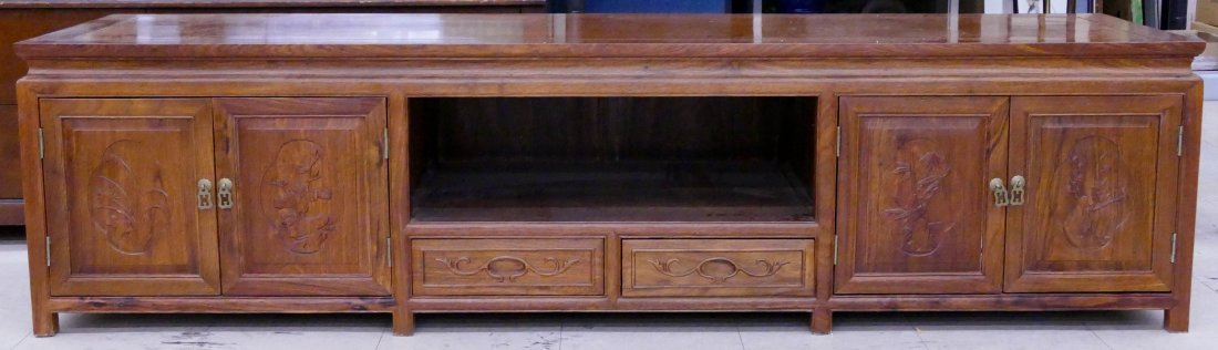 Chinese Rosewood Low Cabinet 20''x78''x21.5''. A long