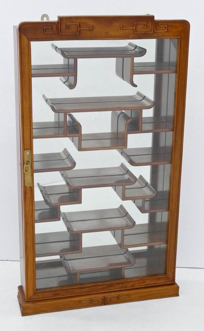Chinese Rosewood Snuff Bottle Cabinet 33''x18''x4''.
