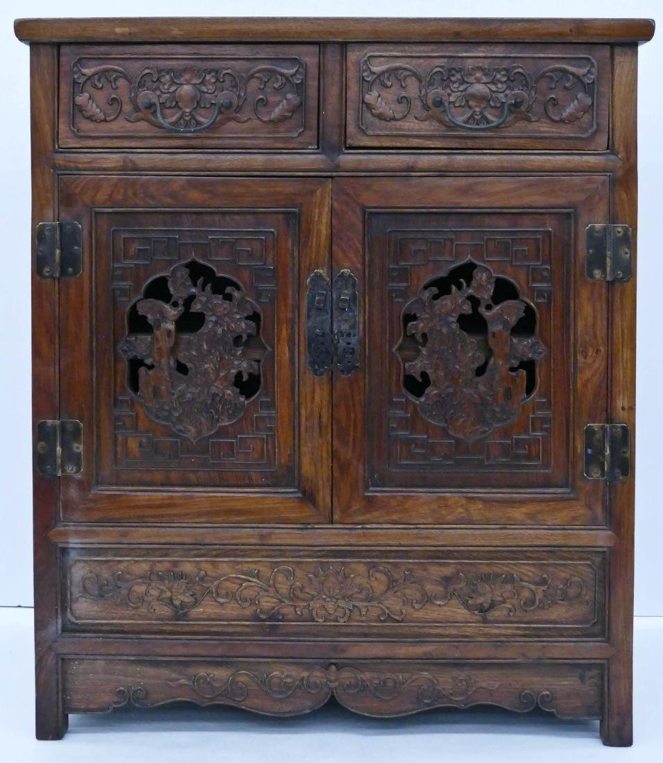 Chinese Huali Carved Small Cabinet 31.5''x27''x15.5''.