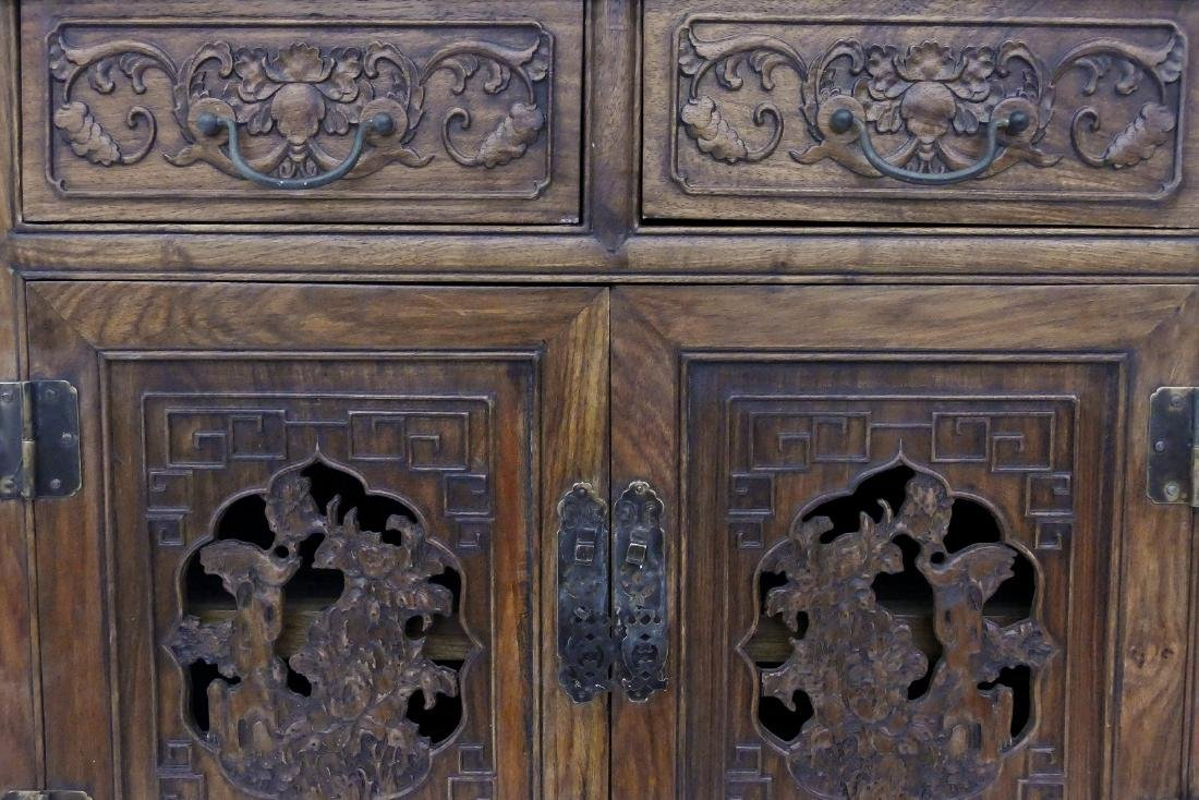 Chinese Huali Carved Small Cabinet 31.5''x27''x15.5''. - 2