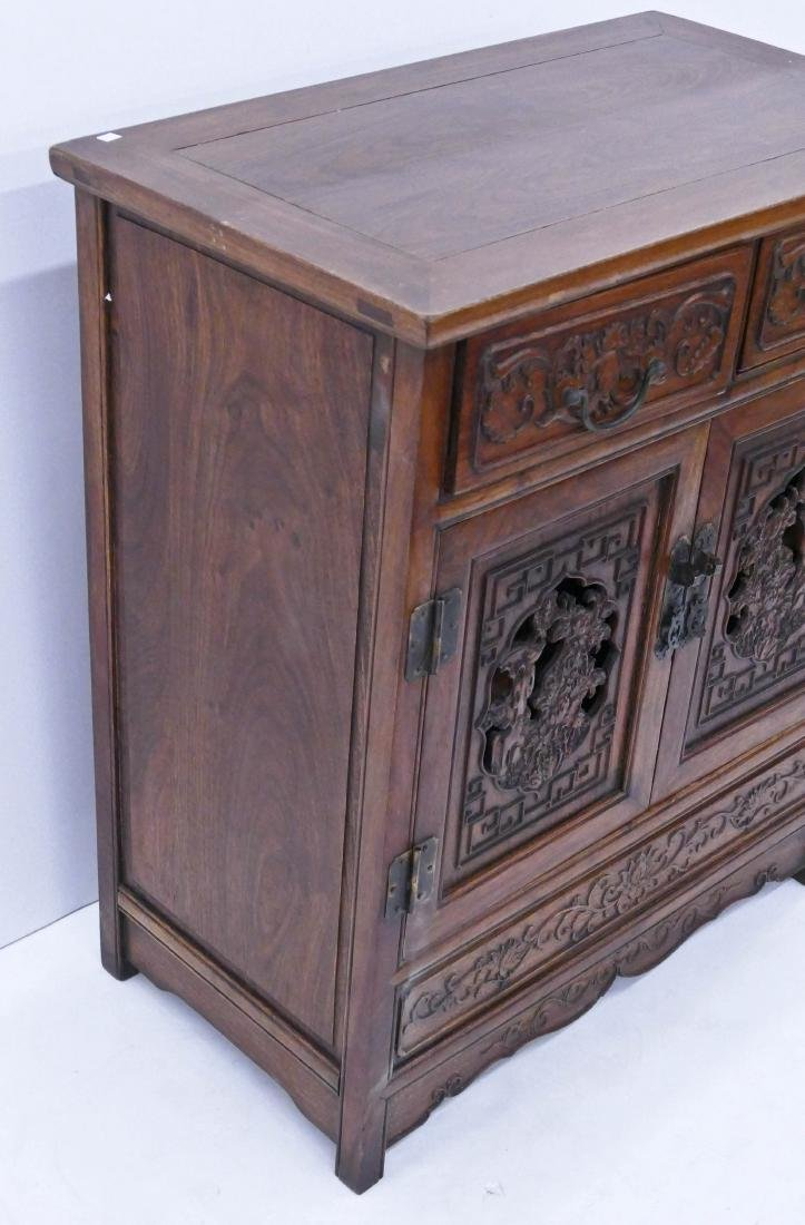 Chinese Huali Carved Small Cabinet 31.5''x27''x15.5''. - 4