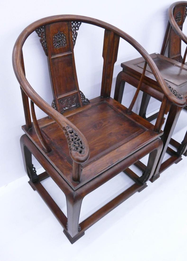 Chinese Huali Horseshoe Chair & Tea Table Set. Includes - 3