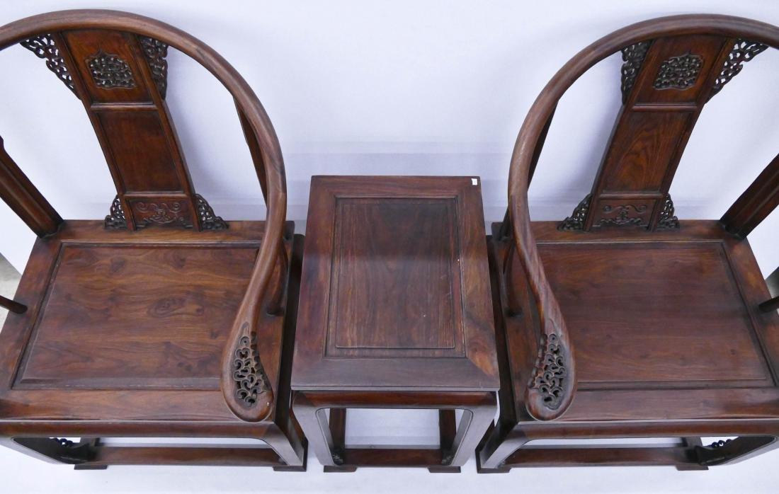 Chinese Huali Horseshoe Chair & Tea Table Set. Includes - 4