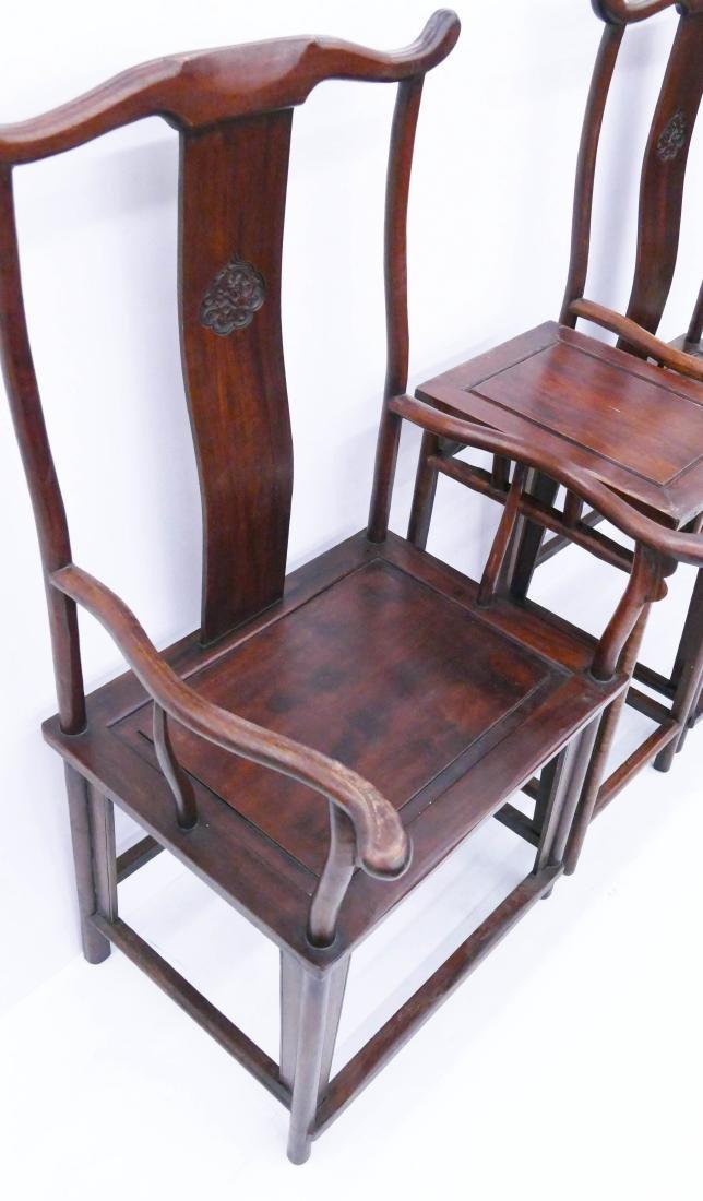 Chinese Huali Yoke Back Chair & Tea Table Set. Pair of - 3