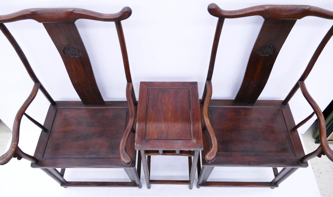 Chinese Huali Yoke Back Chair & Tea Table Set. Pair of - 4