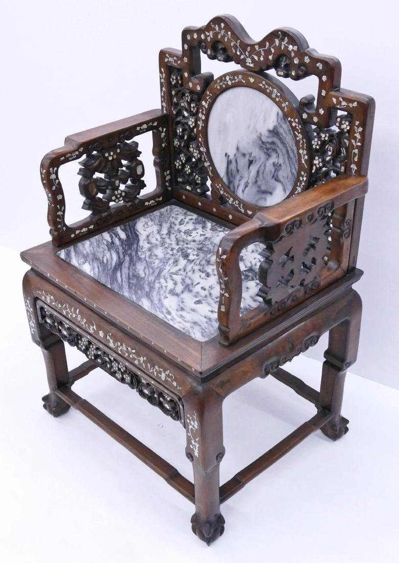 Chinese Inlaid Rosewood Armchair 40''x27''x21''. Carved - 3