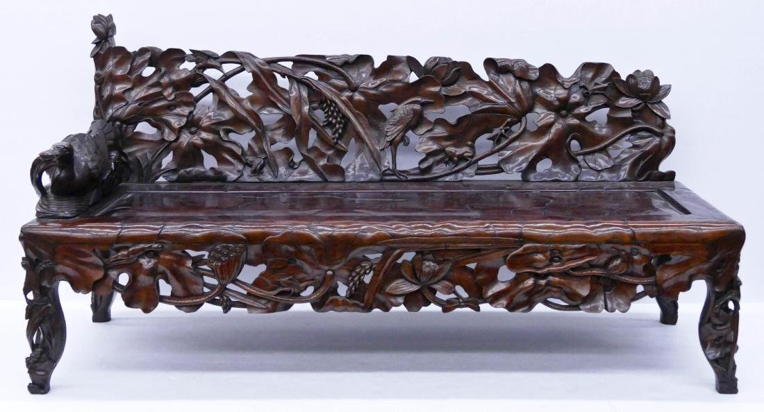 Fine Chinese Rosewood Lotus Bench 30''x64''x24''.
