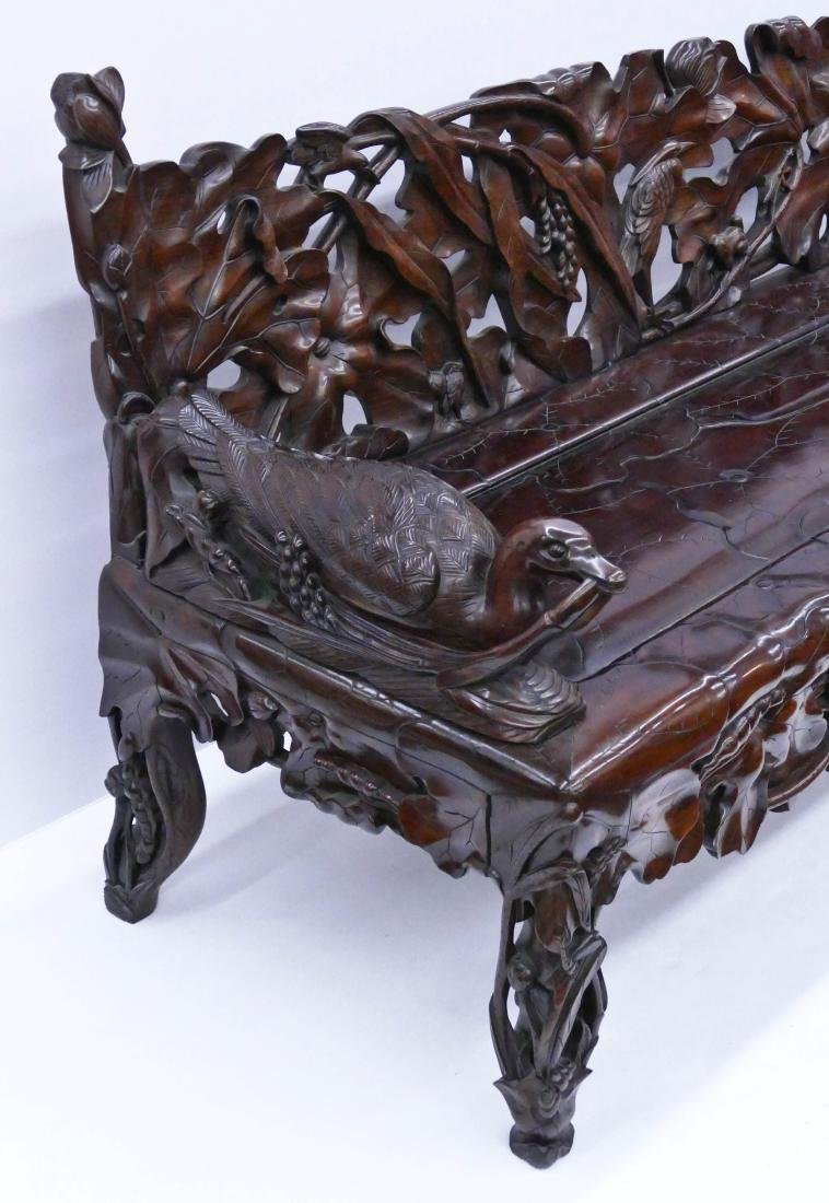 Fine Chinese Rosewood Lotus Bench 30''x64''x24''. - 3